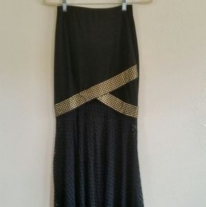 Venus Bedazzle Pencil Maxi Skirt with Mesh Pattern
